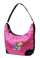 Little Earth Women's NCAA Kansas Jayhawks Quilted Hobo Bag - Pink