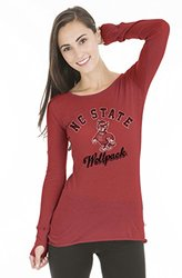 NCAA Women's North Carolina State Wolfpack Layla Tee w/ Thumbholes - Red/M