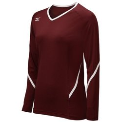 Mizuno Women's Youth Techno Generation Long Sleeve Jeresy, Cardinal/White, Medium