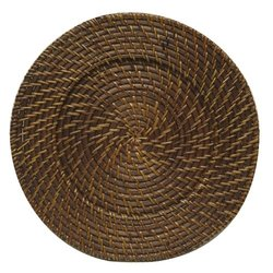 Chargeit by Jay 1660410P Rattan Charger Plate - Brown