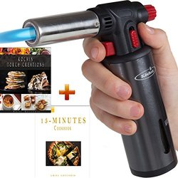 Culinary Torch - Kitchen Creme Brulee Cooking - Professional Chef Food Blow Torch - Butane Gas Gauge