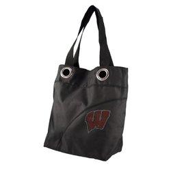 NCAA Wisconsin Badgers Sport Noir Sheen Tote Bag, Black
