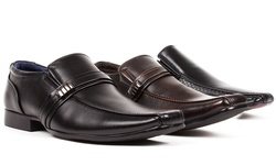 Bonafini Men's Dress Buckle Strap Shoes - Black - Size: 8.5