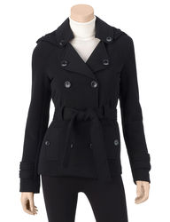 Ashley Women's Juniors Double Breasted Hooded Jacket - Black - Size: L