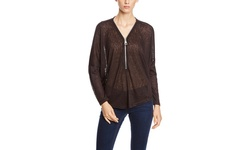 Joan Vass Dolman Sleeve Front Zip Top - Mocha/Black - Size: M