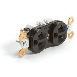 Woodhead 5362DWI Safeway Duplex Receptacle, Heavy Duty, Straight Blade, 2 Poles, 3 Wires, NEMA 5-20 Configuration, Ivory, 20A Current, 125V Voltage