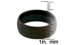 Generic Men's 8 mm Black Plated Stainless Steel Domed Ring