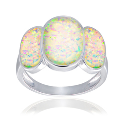 Glitzy Rocks Sterling Silver White Opal 3-Oval Fashion Ring - Size: 8