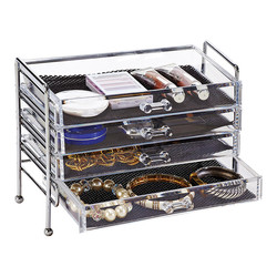Wayfair Basics 4 Drawer Chest Cosmetic and Jewelry Holder Wire Frame
