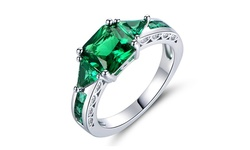 Women's 4 cttw 18K White Gold Plated Princess Cut Emerald Ring - Size: 7