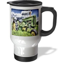 3dRose tm_128779_1 Picture of a Farm Tractor Out in The Country Travel Mug, 14-Ounce, Stainless Steel