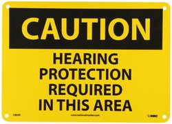 "NMC C88AB OSHA Sign, Legend ""CAUTION - HEARING PROTECTION REQUIRED IN THIS AREA"", 14"" Length x 10"" Height, Aluminum, Black on Yellow"