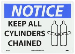 "NMC N289AB OSHA Sign, Legend ""NOTICE - KEEP ALL CYLINDERS CHAINED"" with Graphic, 14"" Length x 10"" Height, Aluminum, Black/Blue on White"