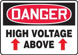 "Accuform Signs 10""x14""x0.010"" ""DANGER HIGH VOLTAGE ABOVE"" SignPad - 25Ct"