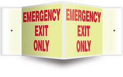 """Accuform Signs PSP341 Projection 3D Sign, Legend """"EMERGENCY EXIT ONLY"""", 8"""" x 12"""" Panel, 0.10"""" Thick High-Impact Lumi-Glow Plastic, Pre-Drilled Mounting Holes, Red on Glow"""