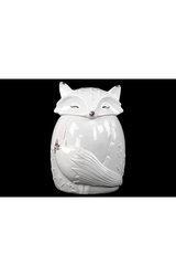 Urban Trends Ceramic Sitting Fox Figurine in Embossed Design - Whte-Size:L