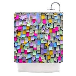 "Kess InHouse Trebam ""Respekt"" Rainbow Paper Shower Curtain, 69 by 70-Inch"