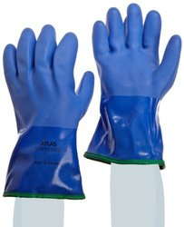 """SHOWA Atlas 490 Fully Coated Triple-Dipped PVC Glove, Insulated Seamless Yellow Acrylic Liner, Chemical Resistant, 12"""" Length, X-Large (Pack of 12 Pairs)"""