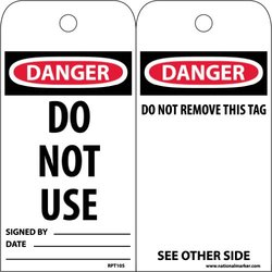 """NMC RPT105 Accident Prevention Tag w/Legend """"Do Not Use"""" - Pack of 25"""