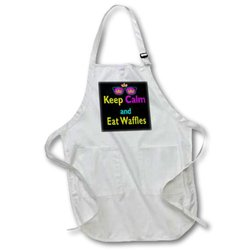 3dRose Cmyk Keep Calm Parody Hipster Crown and Sunglasses Keep Calm and Eat Waffles - Full Length Apron, 22 by 30-Inch, White, with Pockets (apr_116658_1)