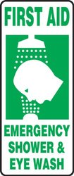 "Accuform Signs MFSD996VA Aluminum Safety Sign, Legend ""FIRST AID EMERGENCY SHOWER & EYE WASH"" with Graphic, 17"" Length x 7"" Width x 0.040"" Thickness, Green on White"