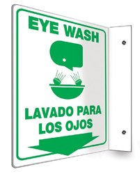 """Accuform Signs SBPSP751 Spanish Bilingual Projection Sign 90D, Legend """"EYE WASH/LAVADO PARA LOS OJOS (ARROW)"""" with Graphic, 12"""" x 9"""" Panel, 0.10"""" Thick High-Impact Plastic, Pre-Drilled Mounting Holes, Green on White"""
