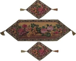 DaDa Bedding Parade of Fruit and Rose Piece Woven Table Runner Set 3