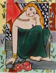 Continental Art Center HD-002 11 by 14-Inch Girl in a Greenl Dress Ceramic Art Tile