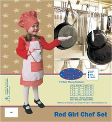 Red Gingham Girl Chef Costume Set - Size: Large 12-14