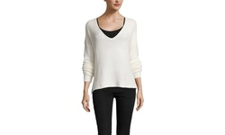 Six Crisp Days Long Sleeve V-Neck Boyfriend Sweater - Ivory - Size: M/L