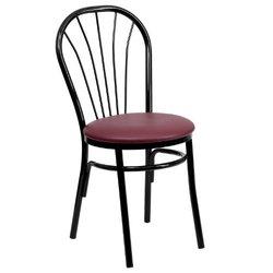 Metal Chair with Burgundy Vinyl Seat