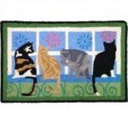 Kitties In The Window Blue Indoor/ Outdoor Rug (1'9 x 2'9)