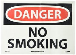 "NMC GD79PB OSHA Sign, Legend ""DANGER - NO SMOKING"", 14"" Length x 10"" Height, Glow Polyester, Black/Pink on Pale goldenrod"