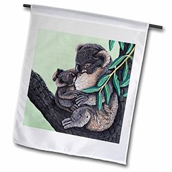 3dRose fl_3208_1 Koala Mother, Garden Flag, 12 by 18-Inch