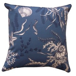 Jiti Sea Outdoor Polyester Square Throw Pillow, 20-Inch, Slate Blue