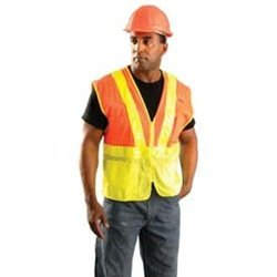 Occunomix LUX-SSLM2Z-S Premium Mesh Two-Tone Gloss Safety Vests, Small, Yellow
