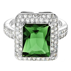 ELYA Women's Sterling Radiant-Cut Cubic Halo Ring - Green - Size: 9