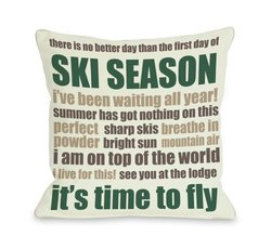 "Bentin Home Decor Ski Season Words Throw Pillow by OBC, 18""x 18"", Ivory/Emerald/Brown"