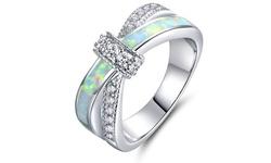 Fire Opal Cross Ring in 18K White Gold - Size: 5
