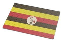 Rikki Knight Uganda Flag On Distressed Wood Large Glass Cutting Board