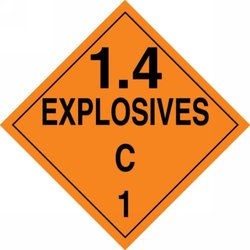 """Accuform Signs MPL128CT100 PF-Cardstock Hazard Class 1/Division 4C DOT Placard, Legend """"1.4 EXPLOSIVES C 1"""", 10-3/4"""" Width x 10-3/4"""" Length, Black on Orange (Pack of 100)"""
