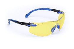 3M Solus 1000 Series Protective Eyewear with Amber Scotchgard Anti-fog Coating, One Size Fits Most, Black/Blue