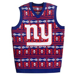 KLEW NFL New York Giants Ugly Sweater Vest, Large, Blue