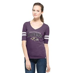NFL Baltimore Ravens Women's '47 Flanker Stripe Tee - Grape - Size: Large