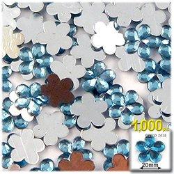 1000-Piece Acrylic Aluminum Foil Flat Back Flower Rhinestones -Clear -20mm