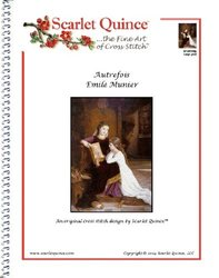 Scarlet Quince MUN008lg Autrefois by Emile Munier Counted Cross Stitch Chart, Large Size Symbols