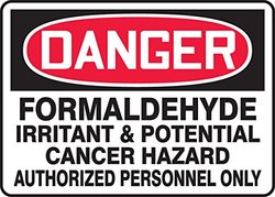 "Accuform Signs MCAW132VA Aluminum Safety Sign, Legend ""DANGER FORMALDEHYDE IRRITANT & POTENTIAL CANCER HAZARD AUTHORIZED PERSONNEL ONLY"", 10"" Length x 14"" Width x 0.040"" Thickness, Red/Black on White"