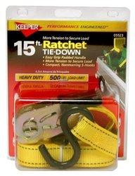 Keeper 5523 15' Ratchet Tie-Down, 500 lbs. WLL (1500 lbs. break strength)