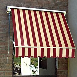Awntech 5-Feet Mesa Window Retractable Awning, 24-Inch Height by 24-Inch Diameter, Burgundy/Tan