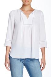 NYDJ Women's 3/4 Sleeve Gypset Blouse - Optic White - Size: S